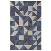 Kahula Geometric Triangle Mosaic 5x8 Area Rug in Blue, White and Gray