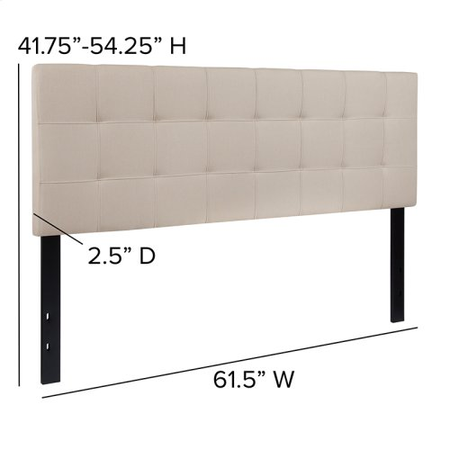 Bedford Tufted Upholstered Queen Size Headboard in Beige Fabric