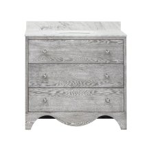 Bath Vanity With White Marble Top In Grey Cerused Oak With Nickel Hardware