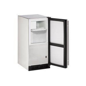 """U-Line Outdoor Series 15"""" Outdoor Crescent Ice Maker With Stainless Solid Finish And Field Reversible Door Swing (115 Volts / 60 Hz)"""