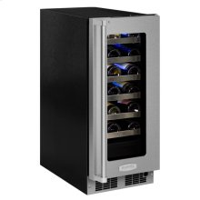"""15"""" High Efficiency Single Zone Wine Cellar - Stainless Frame, Glass Door With Lock - Integrated Right Hinge, Professional Handle"""