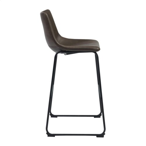 Industrial Brown Faux Leather Bar Stool