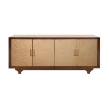 Four Door Cabinet With Gold Hammered Texture Doors One Adjustable/removable Shelf On Both Sides (2 Total)
