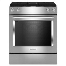 Stainless Steel KitchenAid® 30-Inch 4-Burner Dual Fuel Downdraft Slide-In Range