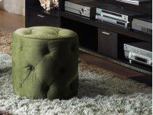 Curves Tufted Round Ottoman In Spring Green Velvet