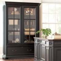 Allegro - Sliding Door Bookcase - Burnished Cherry/rubbed Black Finish Product Image