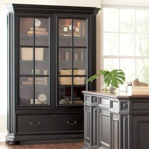 RiversideAllegro - Sliding Door Bookcase - Burnished Cherry/rubbed Black Finish
