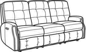 Devon Leather Power Reclining Sofa with Power Headrests and Nailhead Trim