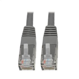 Premium Cat5/5e/6 Gigabit Molded Patch Cable, 24 AWG, 550 MHz/1 Gbps (RJ45 M/M), Gray, 35 ft.