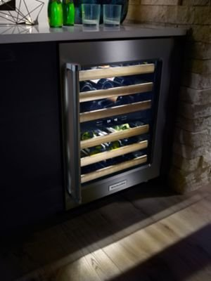 """24"""" Wine Cellar with Glass Door and Wood-Front Racks - Stainless Steel"""