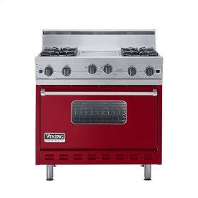 """Apple Red 36"""" Open Burner Range - VGIC (36"""" wide, four burners 12"""" wide griddle/simmer plate)"""