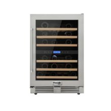 Thor Kitchen 24in. 46-bottles Indoor/outdoor Independent Dual Zone Wine Cooler In 304 Stainless Steel With Full Extension Smooth-glide Wine Racks and Electronic Touch Control