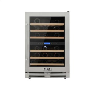ThorThor Kitchen 24in. 46-bottles Indoor/outdoor Independent Dual Zone Wine Cooler In 304 Stainless Steel With Full Extension Smooth-glide Wine Racks and Electronic Touch Control