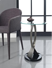 Brushed Chrome, Black Poly & Glass Round Chairside Table