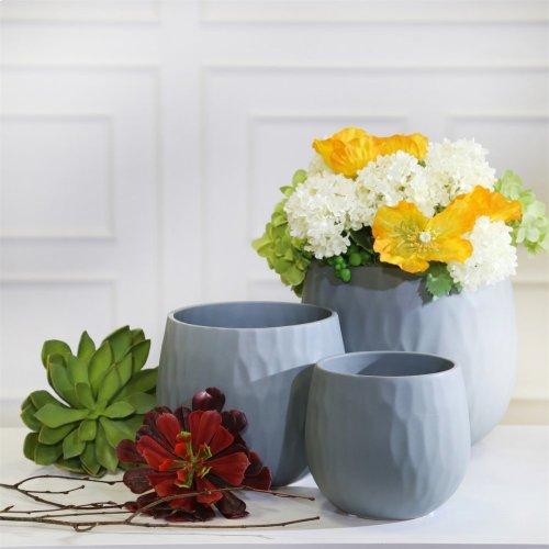 S/3 Ceramic Planters, Matte Gray