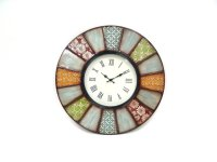 "Round Metal Clock-Multi Color Pastel-24""""D Product Image"