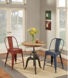Round Wood Adjustable Height Table