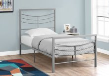 BED - TWIN SIZE / SILVER METAL FRAME ONLY