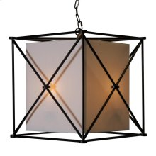 """Black Iron """"x"""" Square Pendant With White Linen Inner Shade and Diffuser."""