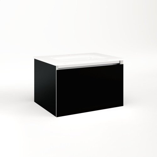 """Cartesian 24-1/8"""" X 15"""" X 18-3/4"""" Single Drawer Vanity In Black With Slow-close Plumbing Drawer and Night Light In 5000k Temperature (cool Light)"""
