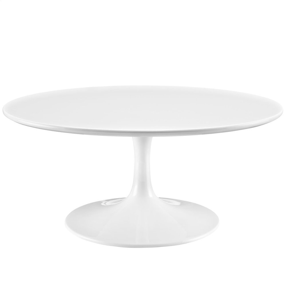 """Lippa 36"""" Round Wood Coffee Table in White"""