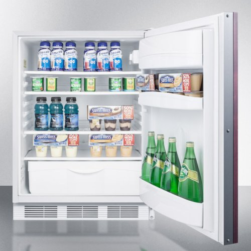 ADA Compliant All-refrigerator for Built-in General Purpose Use, Auto Defrost W/integrated Door Frame for Overlay Panels and White Cabinet