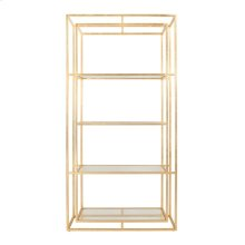 Double Frame Etagere In Gold Leaf With Glass Shelves.