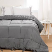 Quilted Comforter with Pillow Shams - Gray