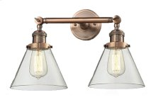 208-AC-G42 - LARGE GLASS CONE 2LT WALL SCONCE