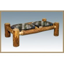 Glacier Country Log Rustic Pet Feeder