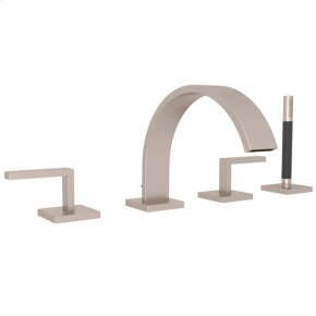 Satin Nickel Wave 4-Hole Deck Mount Tub Filler With Lever Handles And Handshower with Metal Lever