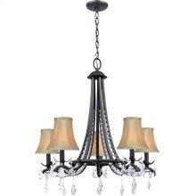 5 Lites Chandelier Lamp - Dark Brz/fabric Shade, E12 B 60wx5