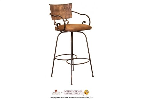 """30"""" Swivel Hand Forged Barstool w/Arms, Microfiber Seat"""