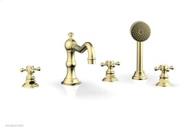 HENRI Deck Tub Set with Hand Shower with Cross Handles 161-48 - Polished Brass Uncoated