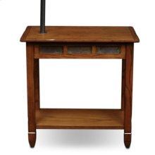 Rustic Slate Tile Chairside Swing Arm Lamp Table with Burlap Shade #10025