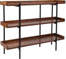 "Mayfair 3 Shelf 35""H Storage Display Unit Bookcase with Black Metal Frame in Rustic Wood Grain Finish Product Image"