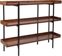 Mayfair Rustic Wood Grain Finish Storage Shelf with Black Metal Frame