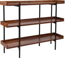 Mayfair Rustic Wood Grain Finish Storage Shelf with Black Metal Frame