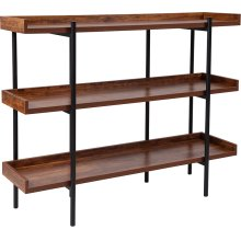 "Mayfair 3 Shelf 35""H Storage Display Unit Bookcase with Black Metal Frame in Rustic Wood Grain Finish"