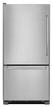 22 cu. ft. 33-Inch Width Full Depth Non Dispense Bottom Mount Refrigerator - Stainless Steel Product Image