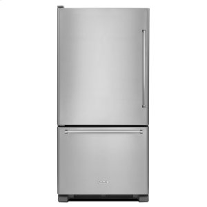 22 cu. ft. 33-Inch Width Full Depth Non Dispense Bottom Mount Refrigerator - Stainless Steel -