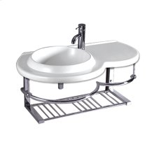 Isabella Collection large wall mount basin with an integrated round bowl, single faucet hole and a center drain. Wall mount unit includes a chrome shelf and towel bar.