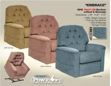 Embrace Lift Chair with Full Layout Recline & Heat & Massage