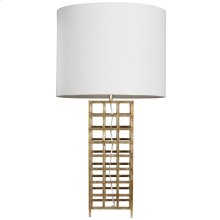 Gold Leaf Iron Grid Table Lamp With White Linen Shade