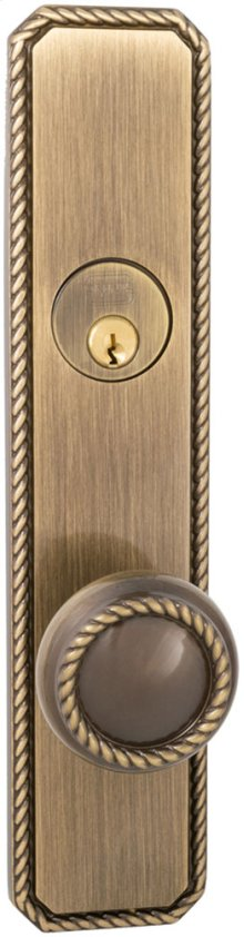 Exterior Traditional Mortise Entrance Knob Lockset with Plates in (SB Shaded Bronze, Lacquered)