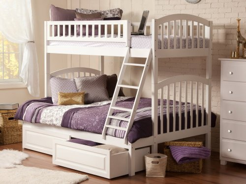 Richland Bunk Bed Twin over Full with Raised Panel Bed Drawers in White