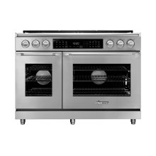 """48"""" Heritage Dual Fuel Epicure Range, Silver Stainless Steel, Natural Gas"""