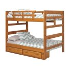 Heartland Full over Full Bunk Bed with options: Honey Pine, Full over Full, 2 Drawer Storage Product Image