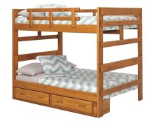 Heartland Full over Full Bunk Bed with options: Honey Pine, Full over Full, 2 Drawer Storage