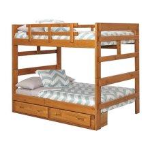 Heartland Full over Full Bunk Bed with options: Honey Pine, Full over Full, 2 Drawer Storage